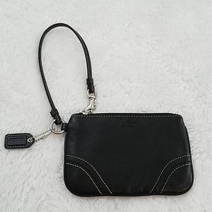 Coach Black Leather Wristlet W/contrast stitching